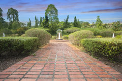 Formal Garden Brick Path Royalty Free Stock Photography
