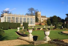 Formal garden and The Church of All Saints in Grantham, England Royalty Free Stock Photos