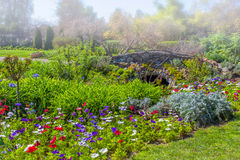 Formal Garden in Early Morning Fog Royalty Free Stock Images