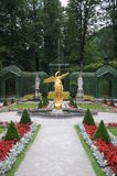Formal Garden At Linderhof Palace. Beautiful sculptures in midst of the beautifully decorated palace garden of Linderhof in Germany Stock Images