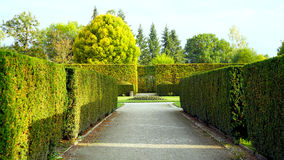 Formal garden in the park of castle royalty free stock photo