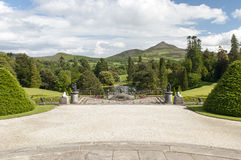 Formal garden and terrace. Scenic and landscaped terrace and garden at Powerscourt Estate, County Wicklow, Ireland Royalty Free Stock Photos