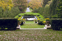 Formal Garden Terraces and Pool. Reflecting pool and terraced formal gardens on Cantigny historic estate in Wheaton Illinois Royalty Free Stock Photo
