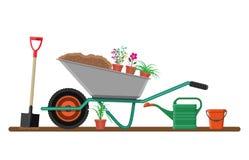 Formal garden with wheelbarrow, flowers, shovel. Garden with wheelbarrow, watering can, flowers, shovel, bucket. Vector illustration in flat style vector illustration