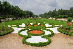 Formal Gardens. A pretty example of the formal garden architecture layout that was prevalent in France two hundred-fifty years ago Stock Images