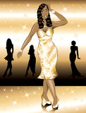 Formal Golden Gown Woman Royalty Free Stock Photography