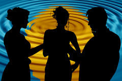 Formal Group Over Abstract Sunset. Formal group of three over abstract sunset background Royalty Free Stock Photo