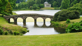 Formal Landscape Garden. View of a Bridge and Lake in an English Landscape Garden Royalty Free Stock Image