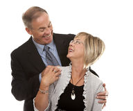 Formal mature couple. Formal couple posing together on white isolated background Stock Photo