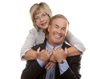 Formal mature couple. Formal couple posing together on white isolated background Stock Photography