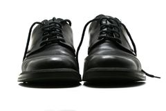 Formal men's black leather shoes royalty free stock images