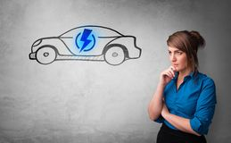 Person thinking with drawn car concept royalty free stock photo