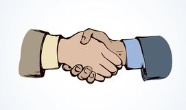 Shake hands. Vector drawing. Formal relationship handclasp on white backdrop. Bright color drawn job unite logo emblem sketchy in modern art cartoon graphic royalty free illustration