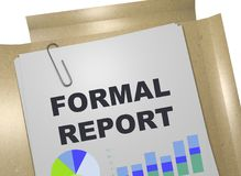 Formal Report concept. 3D illustration of Formal Report title on business document Stock Photo