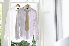 Formal Shirts On Hangers At Home Royalty Free Stock Photo