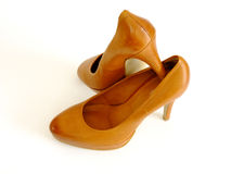 Formal Shoes. Brown elegant formal Women`s Shoes in white Background Royalty Free Stock Photos