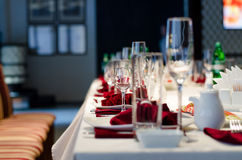 Formal stylish setting on a dinner table Royalty Free Stock Photos