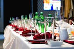 Formal stylish setting on a dinner table Stock Photos