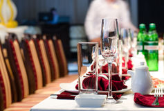 Formal stylish setting on a dinner table Stock Images
