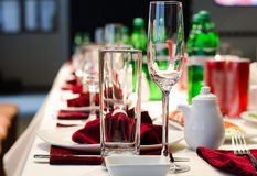 Formal stylish setting on a dinner table Royalty Free Stock Images