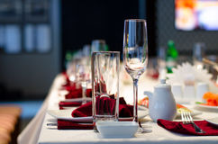 Formal stylish setting on a dinner table Stock Image
