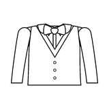 Formal suit silhouette with bowtie. And long sleeves vector illustration Royalty Free Stock Images