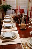 Formal Table. Formal dining table in home set for holiday dinner Royalty Free Stock Images