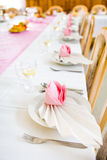 Formal table with napkins ready for Stock Photography