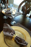 Formal table setting. Partial angled view of a two table settings at a formal dinner Stock Photos