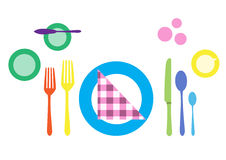 Formal table setting. Colorful of tableware vector illustration