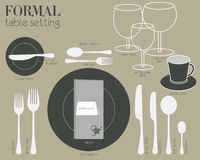 FORMAL TABLE SETTING. Formal dining table setting with full equipped utensil are decorated in modern style Stock Photo