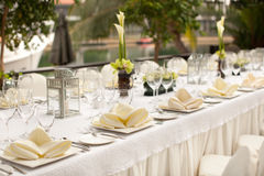 Formal table setting. Outdoor garden style table decoration Stock Images