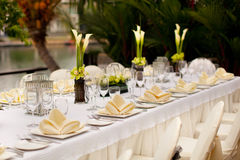 Formal table setting. Outdoor garden style table decoration Stock Photos