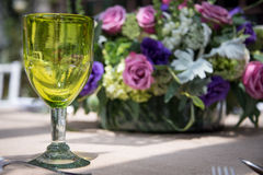 Formal table setting for a wedding with flowers Royalty Free Stock Images