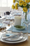 Formal table setting with yellow roses Stock Images