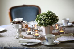 Formal tea party with candles Stock Photo