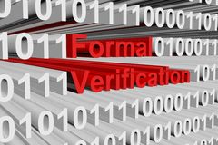 Formal verification. In the form of binary code, 3D illustration Stock Images