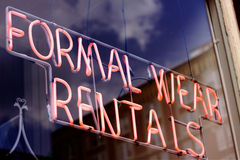 Formal Wear Rental Sign Royalty Free Stock Photography