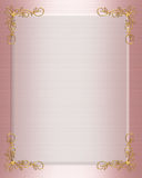 Formal Wedding Invitation border pink satin Stock Photo