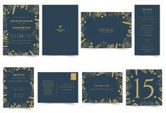 Formale Art der Hochzeitseinladungs-Karte Dunkelblau und Goldtone Stockfoto