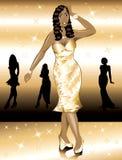 Formale goldene Kleid-Frau Lizenzfreie Stockfotografie