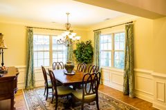 Formall Dining Room with Sunny Windows stock images
