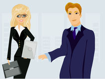 Formally dressed people in office, business meeting stock illustration