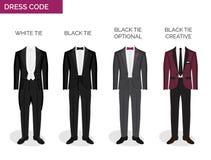Formalny kodu ubioru przewdonik dla mężczyzna ilustracji