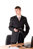 formalny mężczyzna główkowania odzieży miejsce pracy fotografia stock