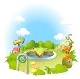 Formalny ogród na zieleń krajobrazie ilustracji