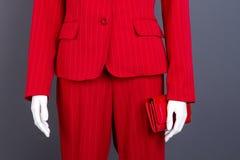 Formalny stylowy czerwony kostium i portfel obraz stock