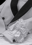 Formalwear tux jacket black white wedding garter Royalty Free Stock Photos