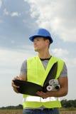 Forman joven con el casco azul Imagen de archivo libre de regalías