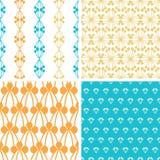Formar abstrakt blått gult bär fyra sömlöst Arkivfoto